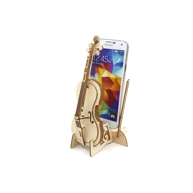 Jigzle Lifestyle Cello Smartphone Stand 3D Wooden Figurine - 1