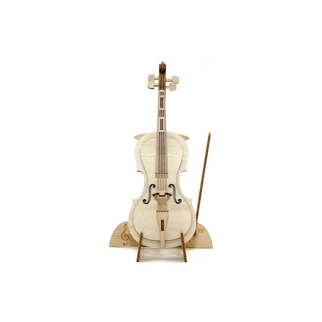 Jigzle Lifestyle Cello Smartphone Stand 3D Wooden Figurine - 0