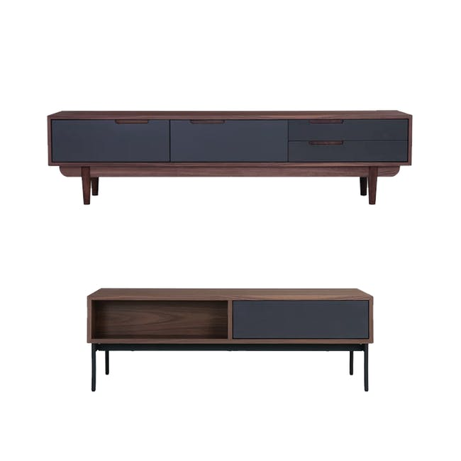 Larisa TV Console 1.8m with Bacchus Twin Drawer Coffee Table - Grey, Walnut - 0