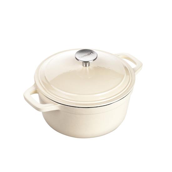Lamart - Lamart Enamelled Cast Iron Round Pot With Lid 20 cm - Cream
