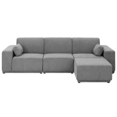 Milan 3 Seater Sofa with Ottoman - Grey - Image 1