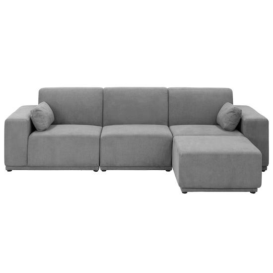 Premium Sofas By Hipvan Milan 3 Seater Sofa With Ottoman Grey