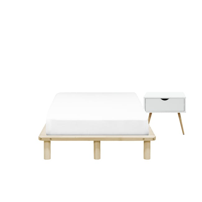 Hiro Super Single Platform Bed with 1 Dallas Bedside Table - 0