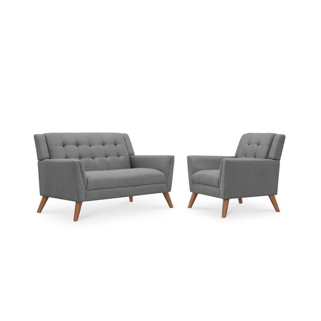 Stanley 2 Seater Sofa with Stanley Armchair - Siberian Grey - 0