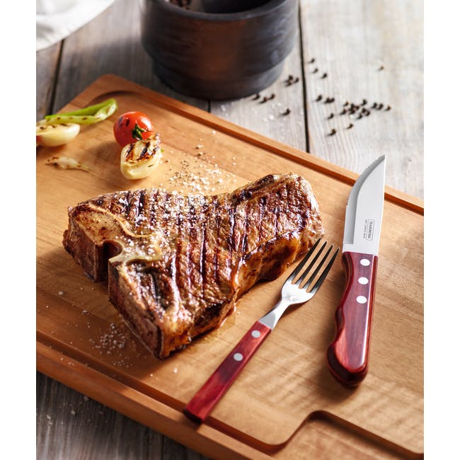 Tramontina 4pc Steak Cutlery Set - Red - 1