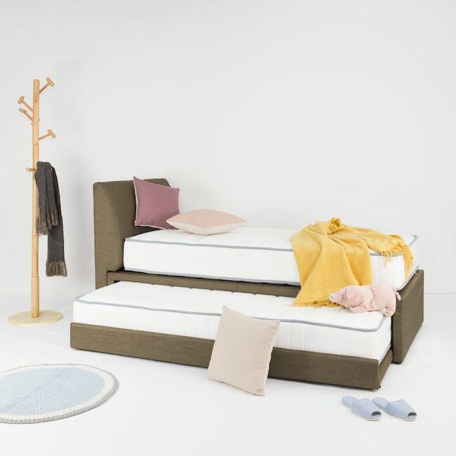 ESSENTIALS Super Single Trundle Bed - Khaki (Fabric) - 12