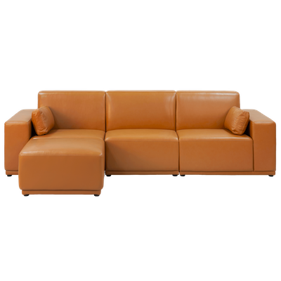 Milan 3 Seater Sofa with Ottoman - Tan - Image 1