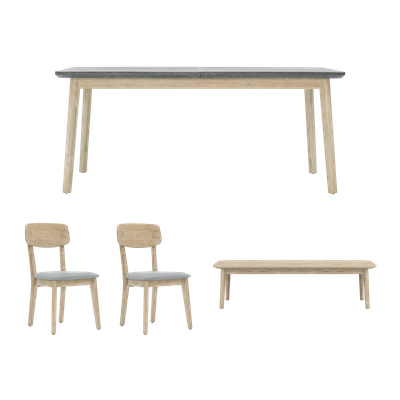 Hendrix Dining Table 1.6m with Hendrix Bench 1.3m and 2 Hendrix Dining Chairs - Image 1