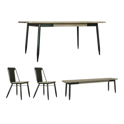 Starck Dining Table 1.6m with Starck Bench 1.3m and 2 Starck Dining Chairs - Image 1