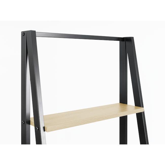 Luca Medium Shelf- Black, Oak - 2