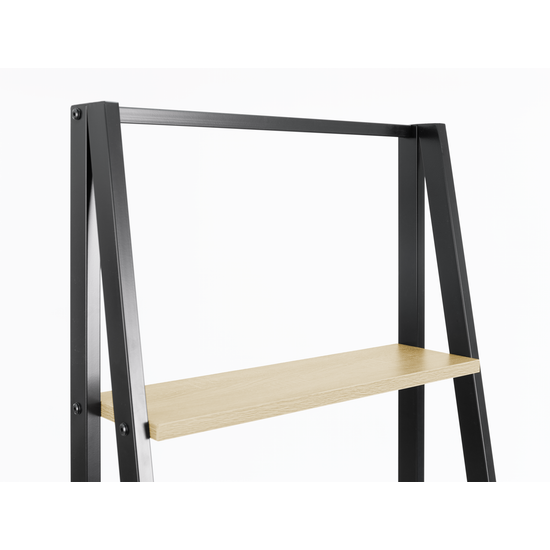 Glass and Metal - Luca Medium Shelf - Black, Oak