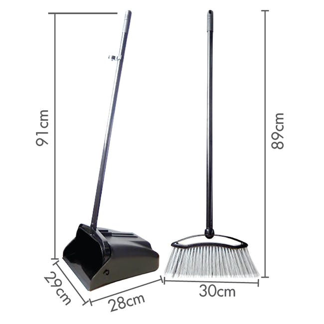 Swivel Dustpan and Broom Set - Red - 2