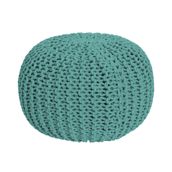 Singla Textiles - Moana Knitted Pouf - Tiffany Blue