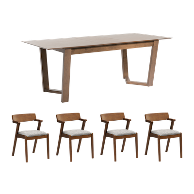 Meera Extendable Dining Table 1.6m with 4 Imogen Dining Chairs - Cocoa - Image 1