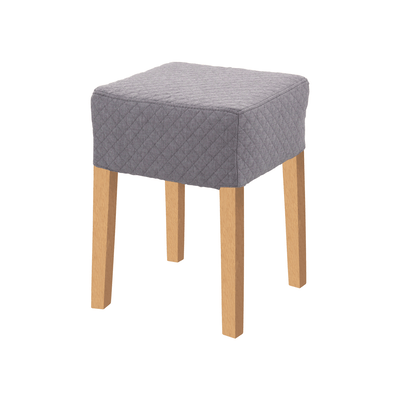 Daphne Stool - Natural, Quilted Grey Goose - Image 1