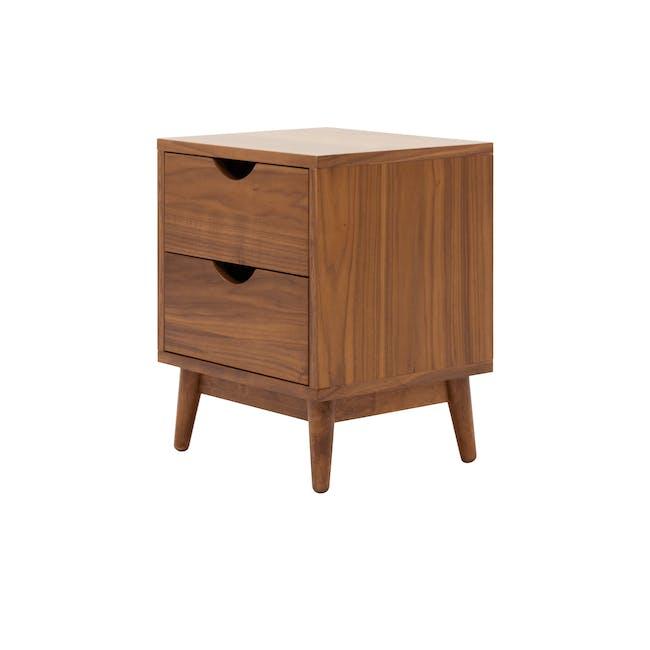 Kyoto Twin Drawer Bedside Table - Walnut - 0