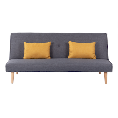 Andre Sofa Bed - Grey with Yellow Cushions - Image 1