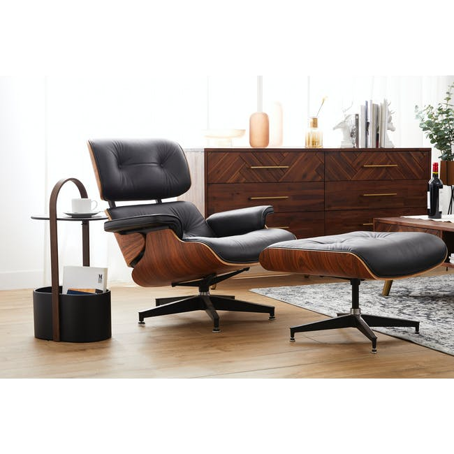 Eames Lounge Chair and Ottoman Replica - Black (Genuine Cowhide) - 1