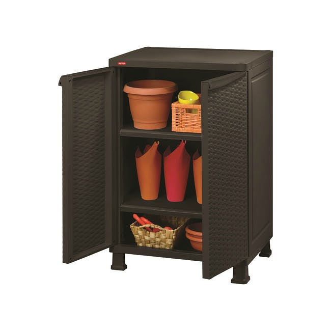 Rattan Wall and Base with Legs - Dark Brown - 1