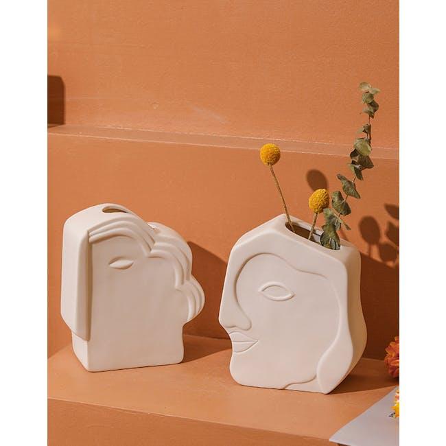 Abstract Gentlemen Head Porcelain Vase - White - 1