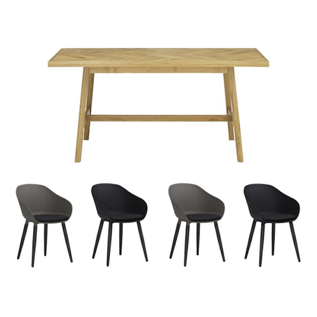 Gianna Dining Table 2.2m with 4 Cody Dining Armchairs - 0