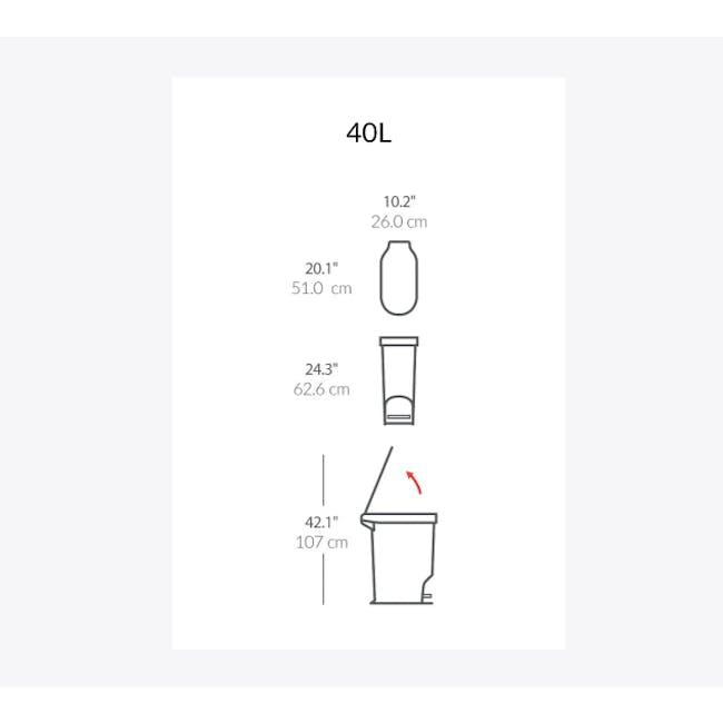 simplehuman Slim Step Can 40L - Grey - 7