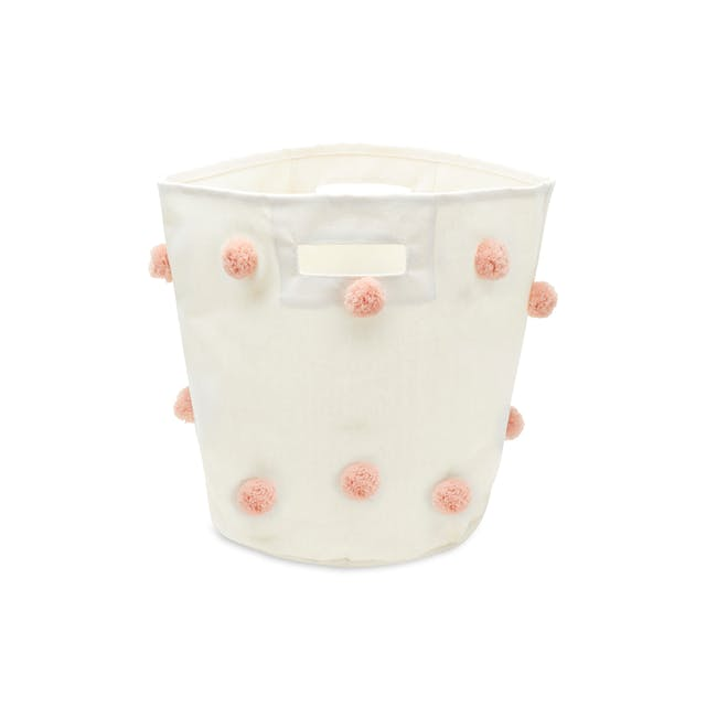 Kalee Pom Pom Storage Basket - Pink - 0