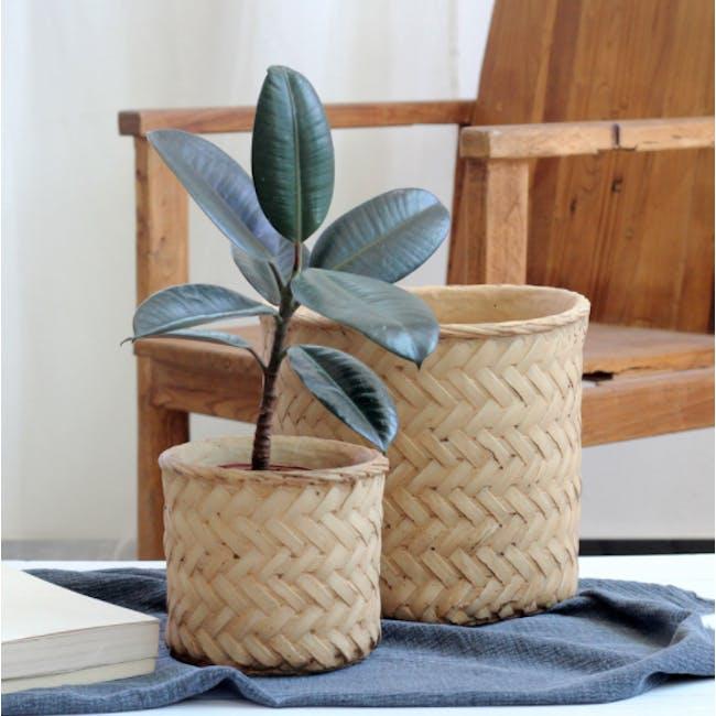 Rattan Cement Pot - Diagonal Weave - 1