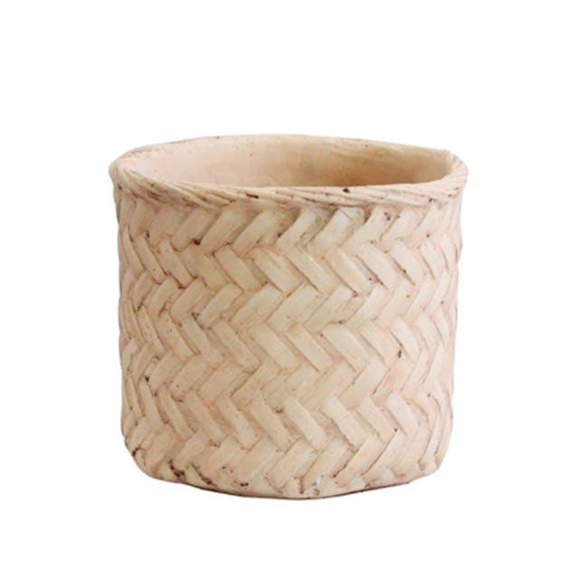 Rattan Cement Pot - Diagonal Weave - 0