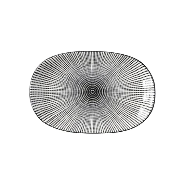 Table Matters Scattered Lines Oval Shaped Plate - 0