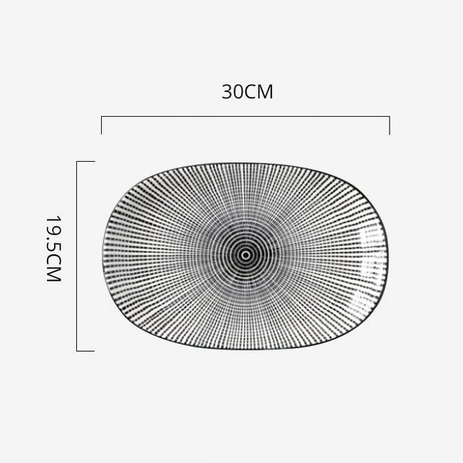Table Matters Scattered Lines Oval Shaped Plate - 3