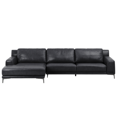 Dominic L Shape Sofa - Coal Black (Aniline Leather) - Image 2