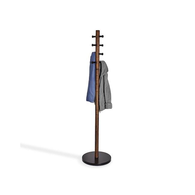 Pillar Coat Rack - Black, Walnut - 1