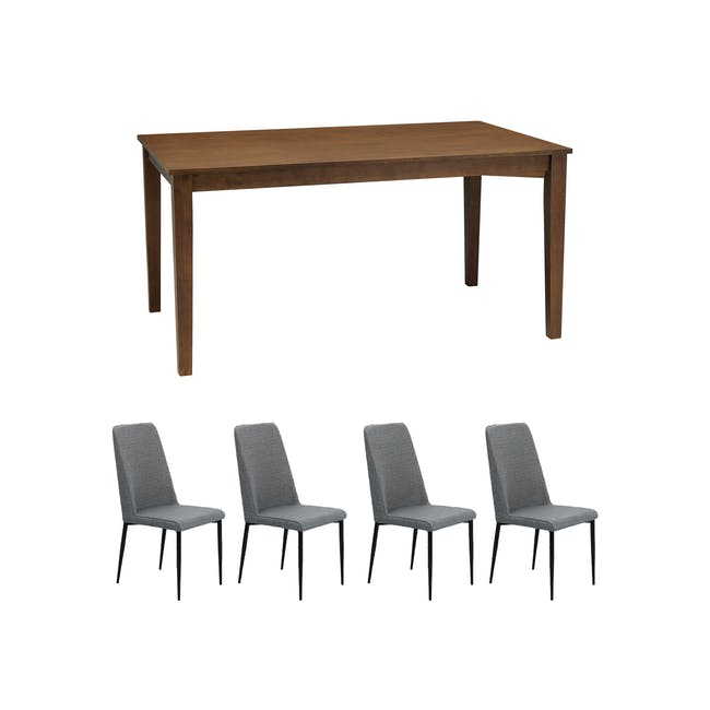 Paco Dining Table 1.2m in Cocoa with 4 Jake Dining Chairs in Oyster Grey - 0