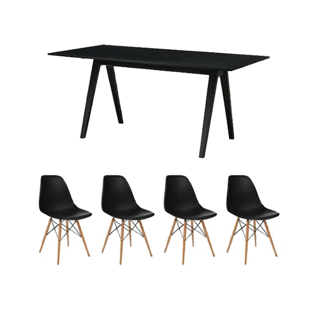 Varden Dining Table 1.7m in Black Ash with 4 DSW Chair Replica - Natural, Black - 0