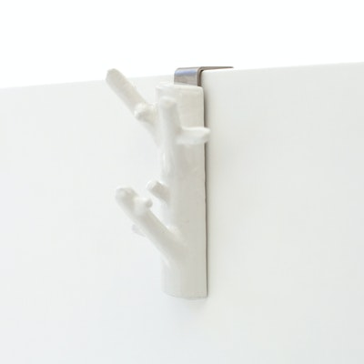 Mini Branch Hanger with Cabinet Hook - White