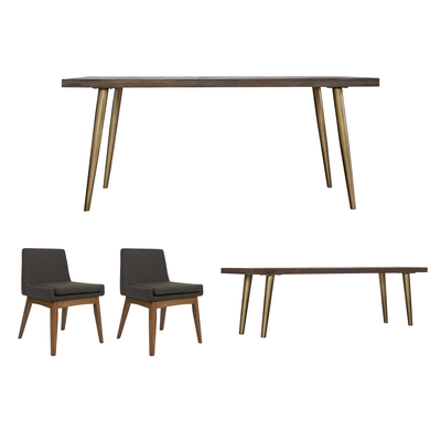 Cadencia Dining Table 18m With Bench 15m And 2 Fabian Chairs