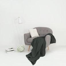 Leno Weave Cotton Throw - Charcoal Grey
