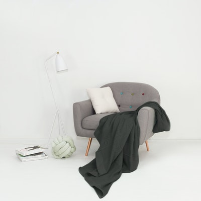 Leno Weave Cotton Throw - Charcoal Grey