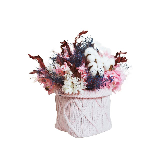 Pink Preserved Flowers Knitted Pot - Design 3 - 0