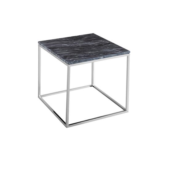 SourceByNet - Amelia Marble Side Table - Grey, Chrome