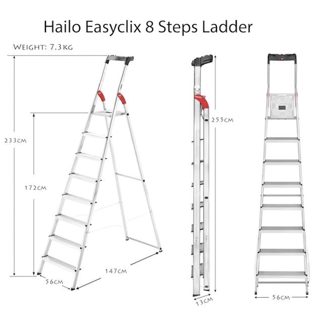 Hailo Aluminium 8 Step Ladder (2 Step Sizes) - 2