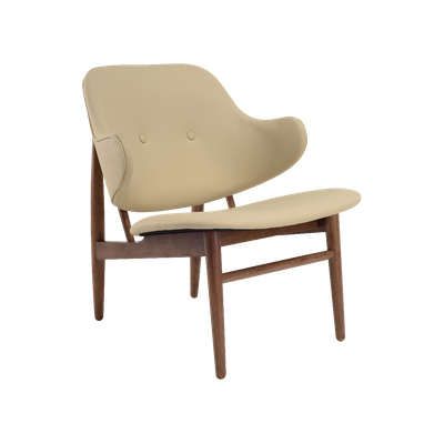 Veronic Lounge Chair in Premium Vinyl - Cream, Walnut - Image 2