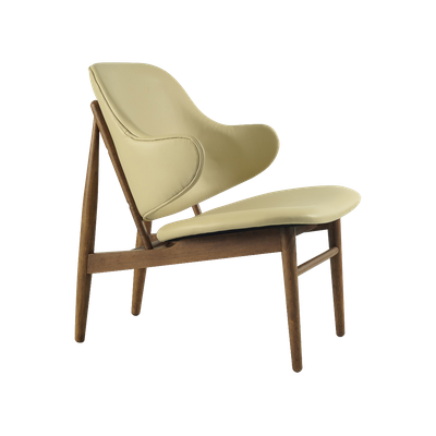 Veronic Lounge Chair in Premium Vinyl - Cream, Walnut - Image 1