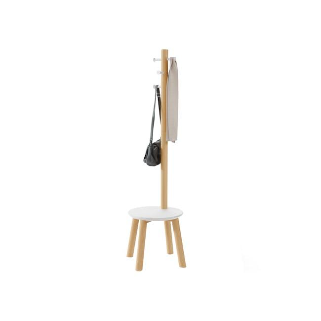 Pillar Coat Rack with Stool - White, Natural - 0