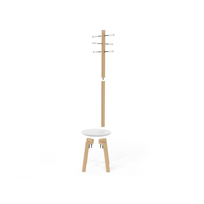Pillar Coat Rack with Stool - White, Natural - 6