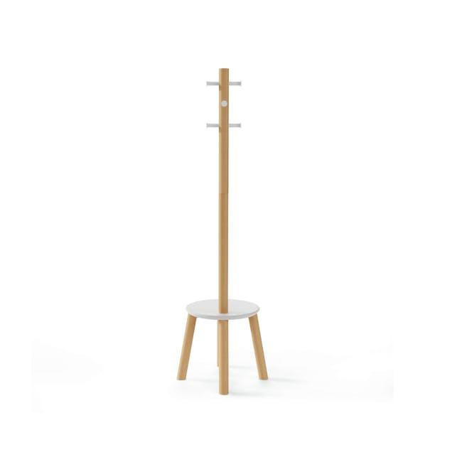 Pillar Coat Rack with Stool - White, Natural - 4