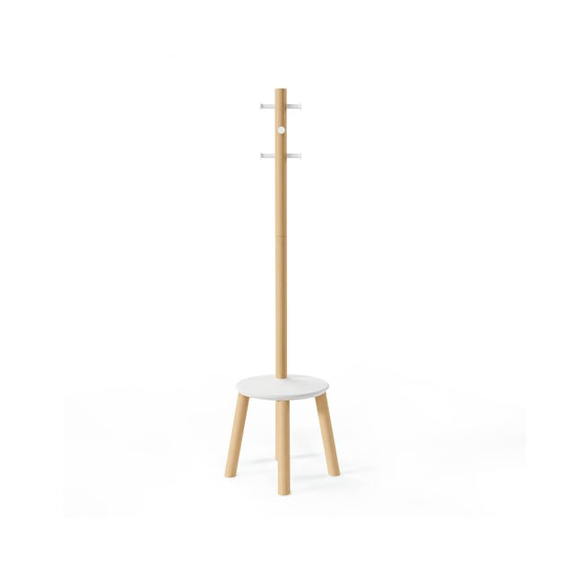 Pillar Coat Rack with Stool - White, Natural - 3