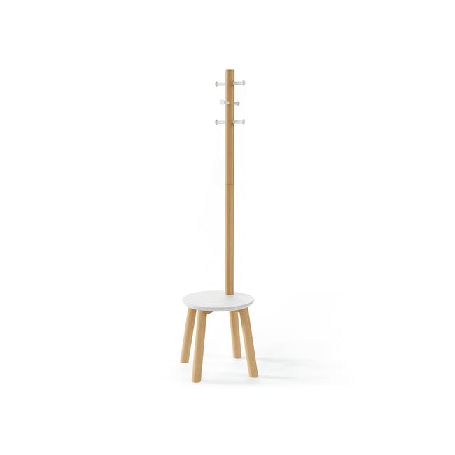 Pillar Coat Rack with Stool - White, Natural - 1