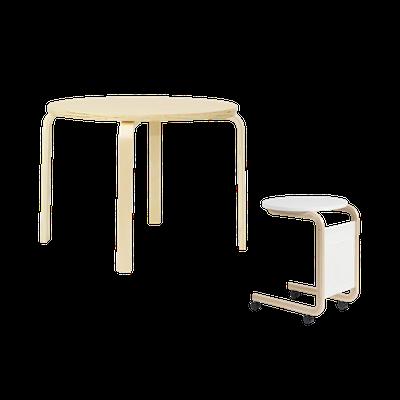 Mizuki Coffee Table with Mizuki Round Side Table with Wheels - Image 1
